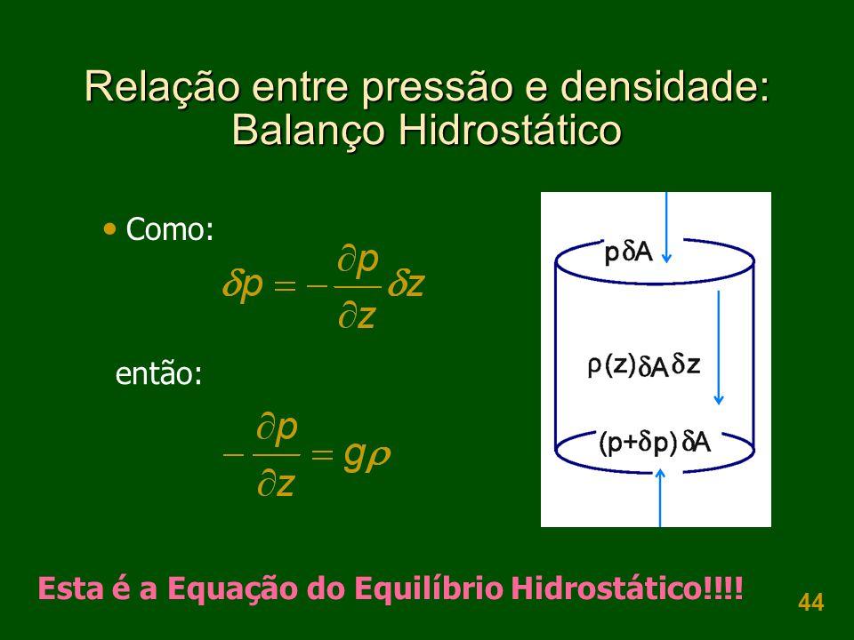 44 Relação entre pressão e densidade: Balanço Hidrostático  Como: então: Esta é a Equação do Equilíbrio Hidrostático!!!!