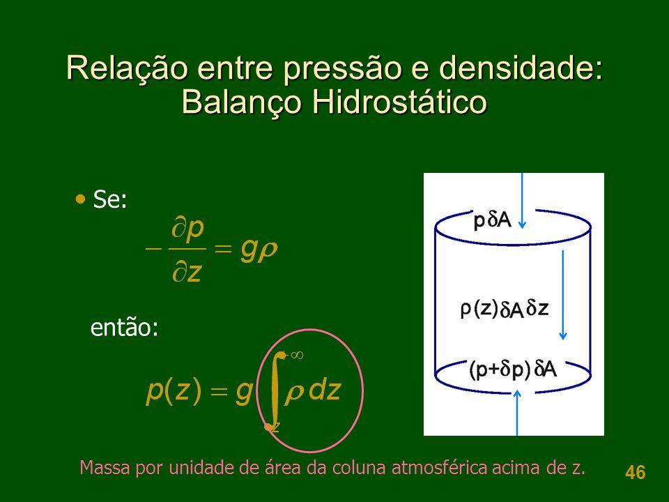 46 Relação entre pressão e densidade: Balanço Hidrostático  Se: então: Massa por unidade de área da coluna atmosférica acima de z.