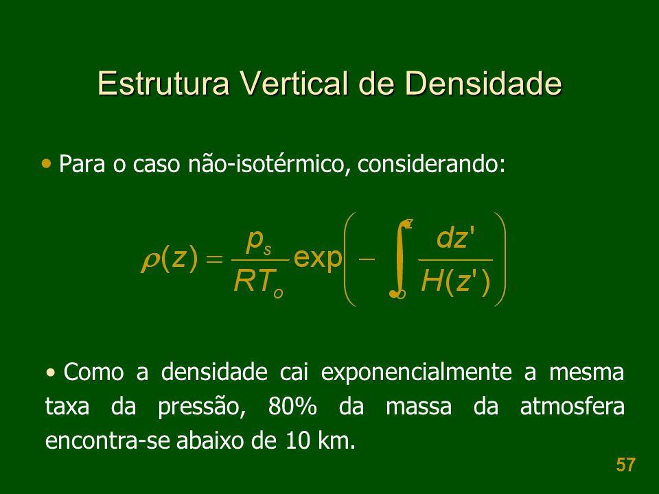 57 Estrutura Vertical de Densidade  Para o caso não-isotérmico, considerando: • Como a densidade cai exponencialmente a mesma taxa da pressão, 80% da