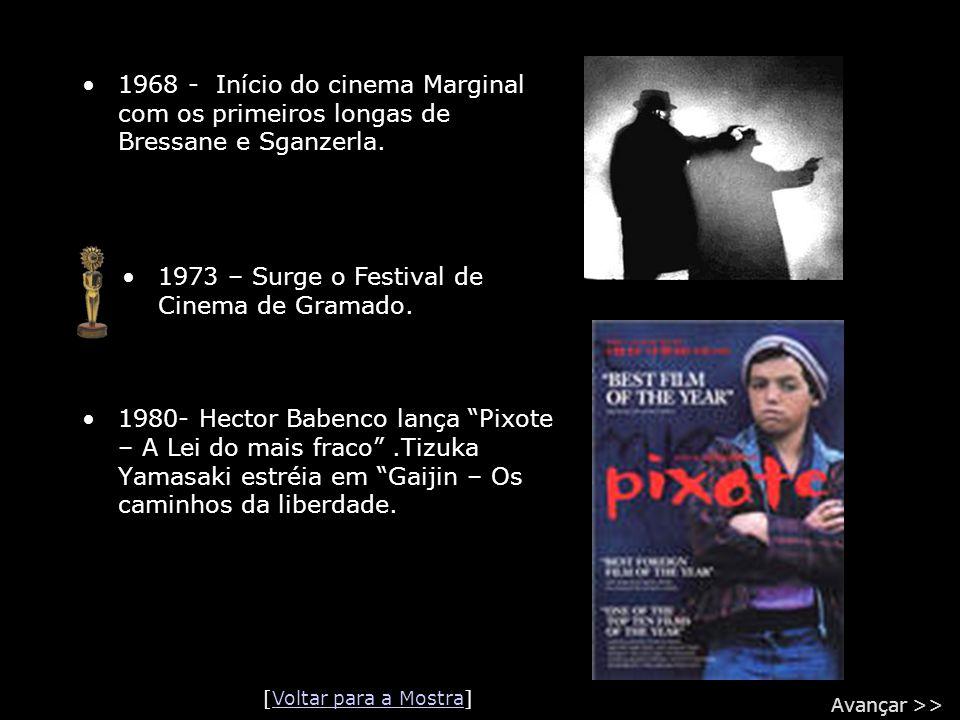 """•1968 - Início do cinema Marginal com os primeiros longas de Bressane e Sganzerla. •1980- Hector Babenco lança """"Pixote – A Lei do mais fraco"""".Tizuka Y"""