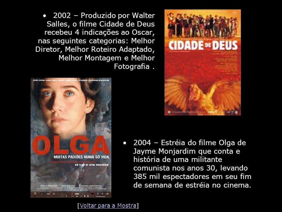 •2002 – Produzido por Walter Salles, o filme Cidade de Deus recebeu 4 indicações ao Oscar, nas seguintes categorias: Melhor Diretor, Melhor Roteiro Ad