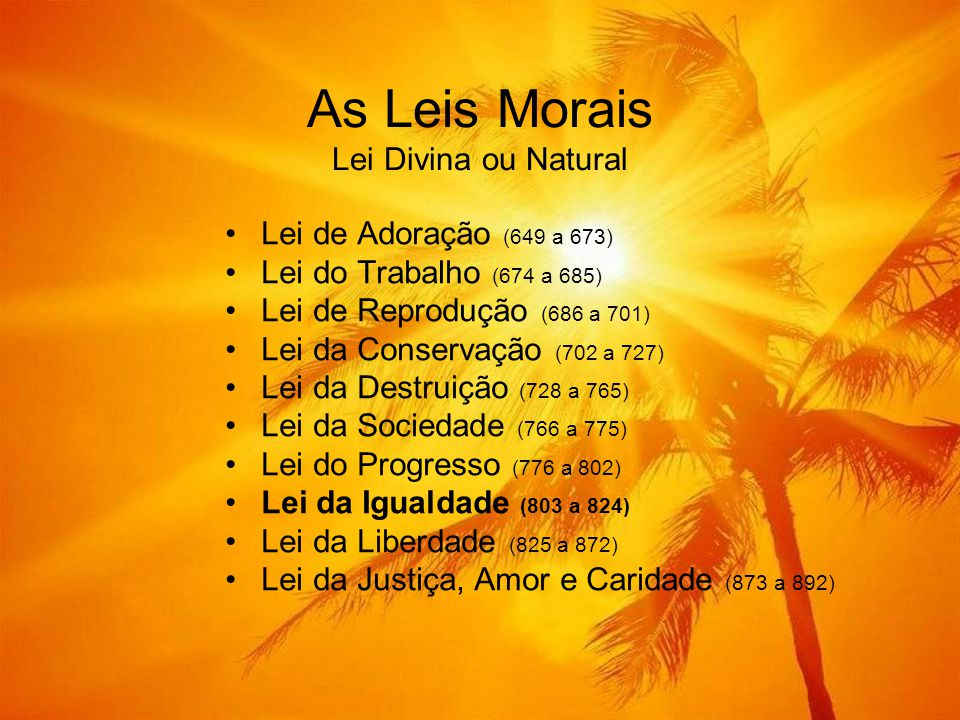 As Leis Morais Lei Divina ou Natural •Lei de Adoração (649 a 673) •Lei do Trabalho (674 a 685) •Lei de Reprodução (686 a 701) •Lei da Conservação (702 a 727) •Lei da Destruição (728 a 765) •Lei da Sociedade (766 a 775) •Lei do Progresso (776 a 802) •Lei da Igualdade (803 a 824) •Lei da Liberdade (825 a 872) •Lei da Justiça, Amor e Caridade (873 a 892)