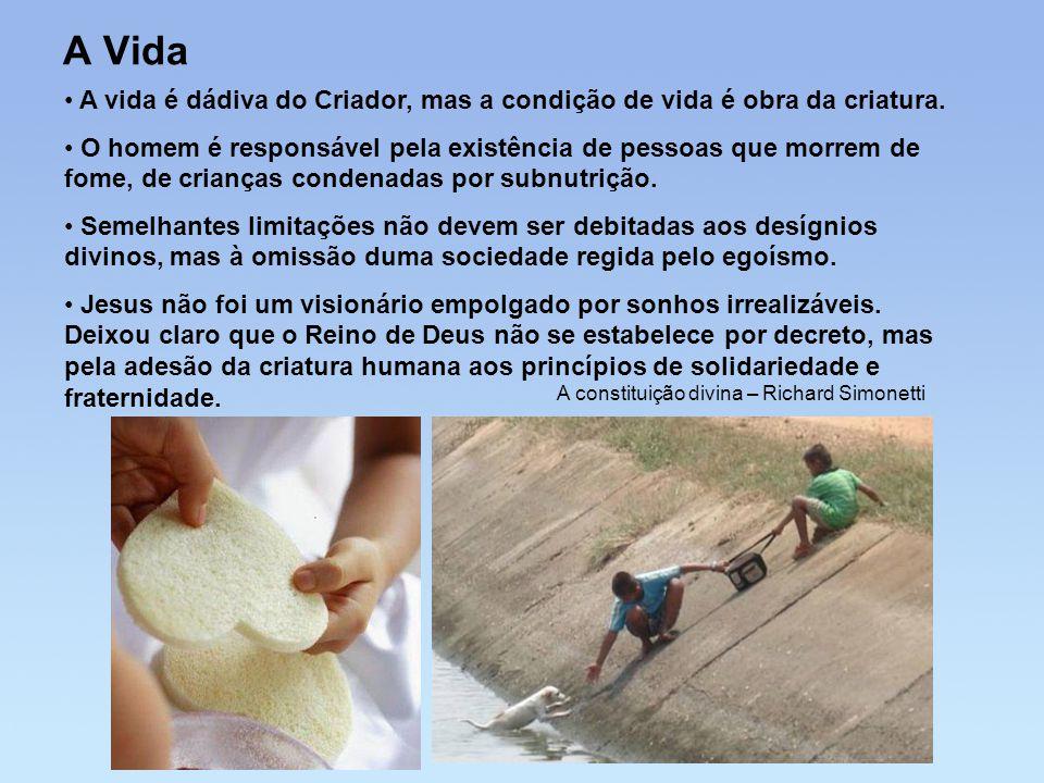 A Vida • A vida é dádiva do Criador, mas a condição de vida é obra da criatura. • O homem é responsável pela existência de pessoas que morrem de fome,
