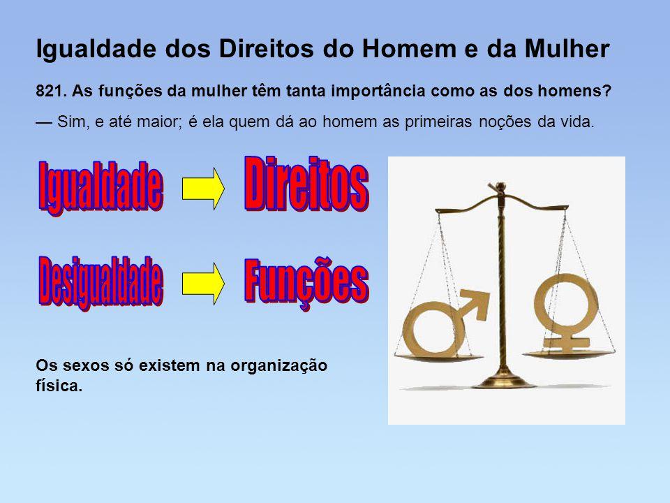 Igualdade dos Direitos do Homem e da Mulher 821. As funções da mulher têm tanta importância como as dos homens? — Sim, e até maior; é ela quem dá ao h