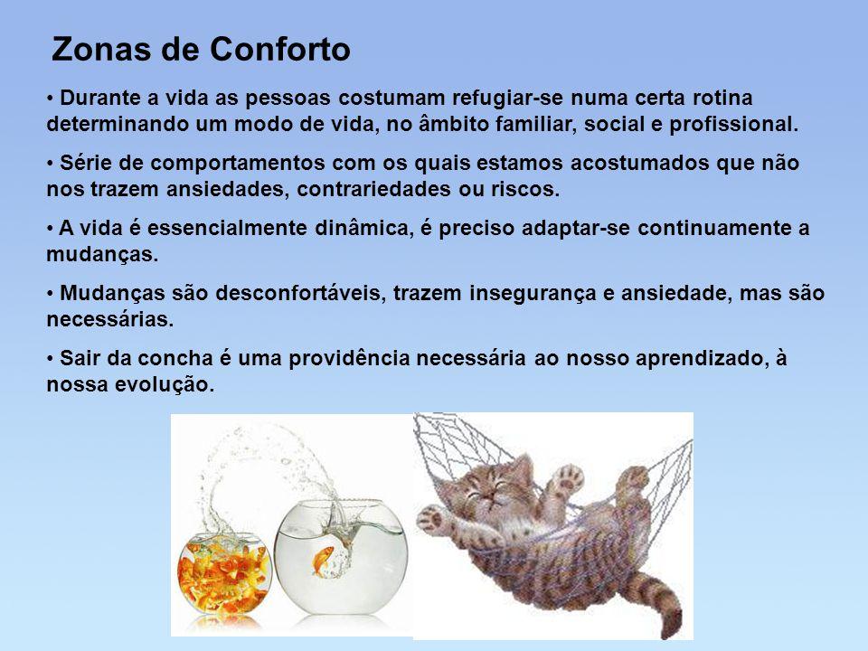 Zonas de Conforto • Durante a vida as pessoas costumam refugiar-se numa certa rotina determinando um modo de vida, no âmbito familiar, social e profis