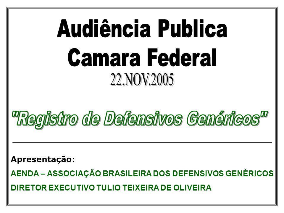 Apresentação: AENDA – ASSOCIAÇÃO BRASILEIRA DOS DEFENSIVOS GENÉRICOS DIRETOR EXECUTIVO TULIO TEIXEIRA DE OLIVEIRA