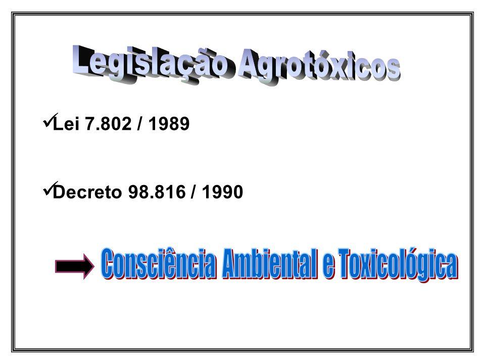  Lei 7.802 / 1989  Decreto 98.816 / 1990