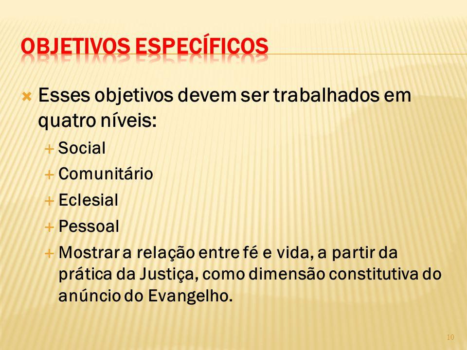  Esses objetivos devem ser trabalhados em quatro níveis:  Social  Comunitário  Eclesial  Pessoal  Mostrar a relação entre fé e vida, a partir da