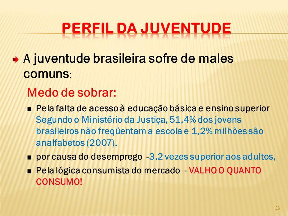 A juventude brasileira sofre de males comuns : Medo de sobrar: Pela falta de acesso à educação básica e ensino superior Segundo o Ministério da Justiç