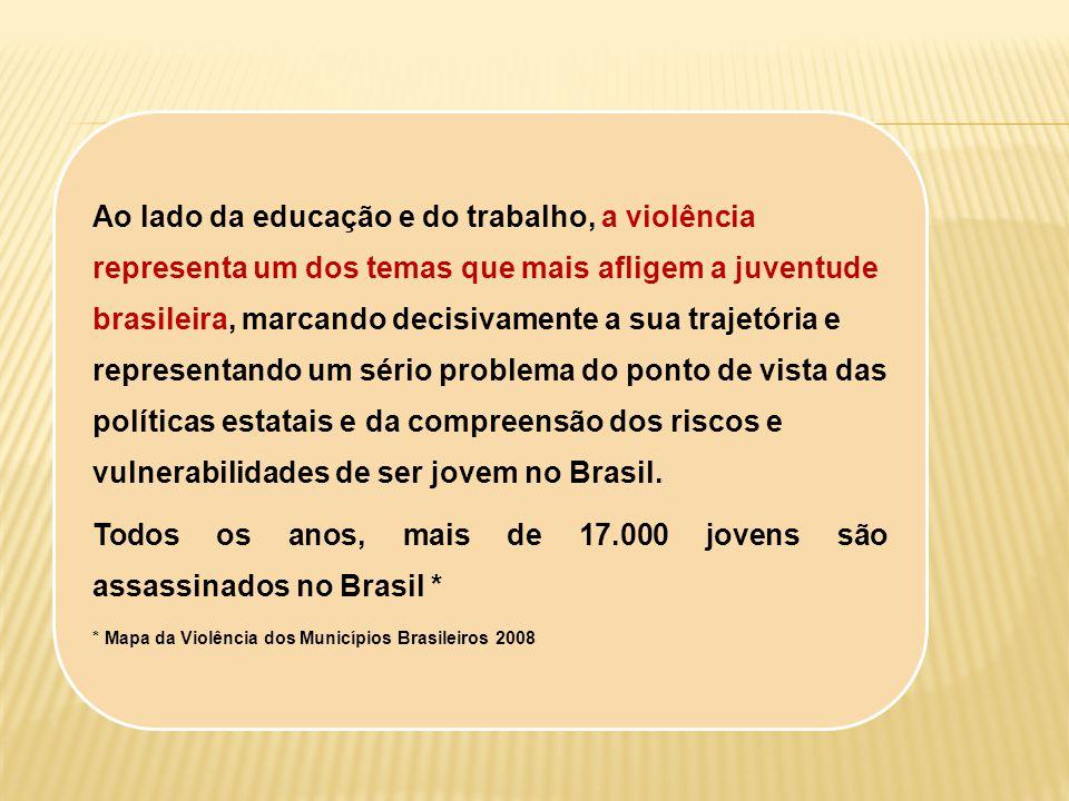 Ao lado da educação e do trabalho, a violência representa um dos temas que mais afligem a juventude brasileira, marcando decisivamente a sua trajetóri