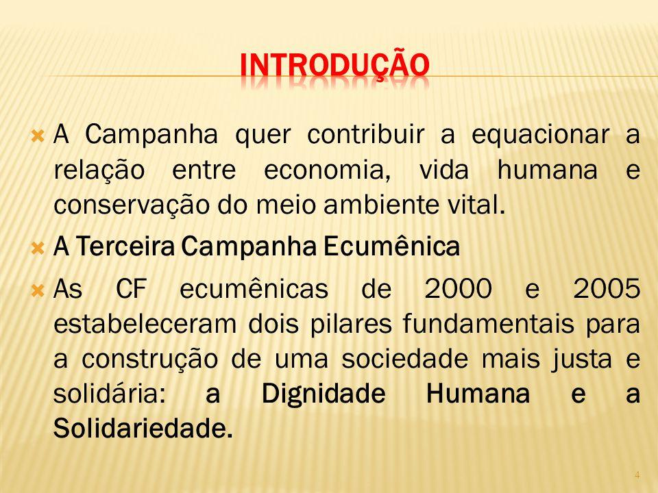  A Campanha quer contribuir a equacionar a relação entre economia, vida humana e conservação do meio ambiente vital.  A Terceira Campanha Ecumênica