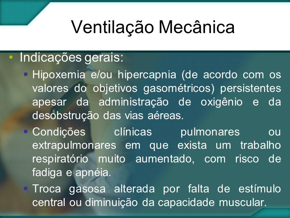 •Indicações gerais:  Hipoxemia e/ou hipercapnia (de acordo com os valores do objetivos gasométricos) persistentes apesar da administração de oxigênio e da desobstrução das vias aéreas.