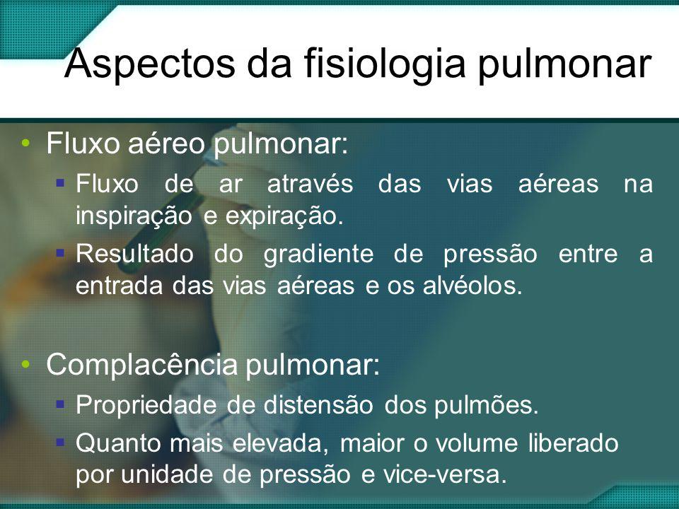 Aspectos da fisiologia pulmonar •Fluxo aéreo pulmonar:  Fluxo de ar através das vias aéreas na inspiração e expiração.