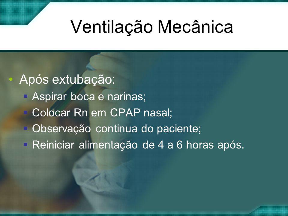 •Após extubação:  Aspirar boca e narinas;  Colocar Rn em CPAP nasal;  Observação continua do paciente;  Reiniciar alimentação de 4 a 6 horas após.