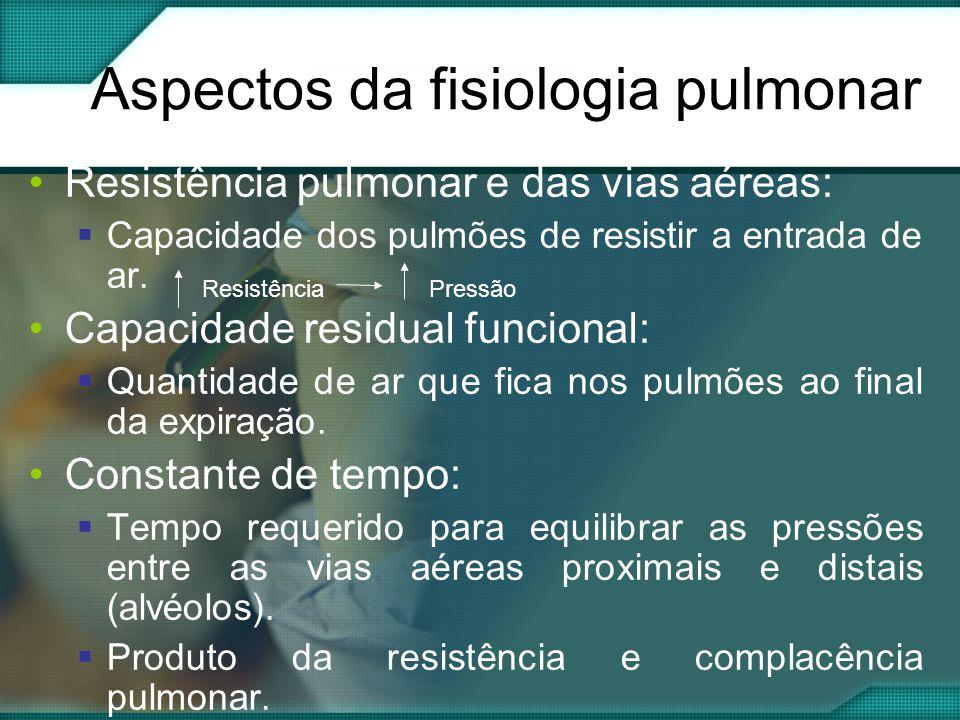 Aspectos da fisiologia pulmonar •Resistência pulmonar e das vias aéreas:  Capacidade dos pulmões de resistir a entrada de ar.