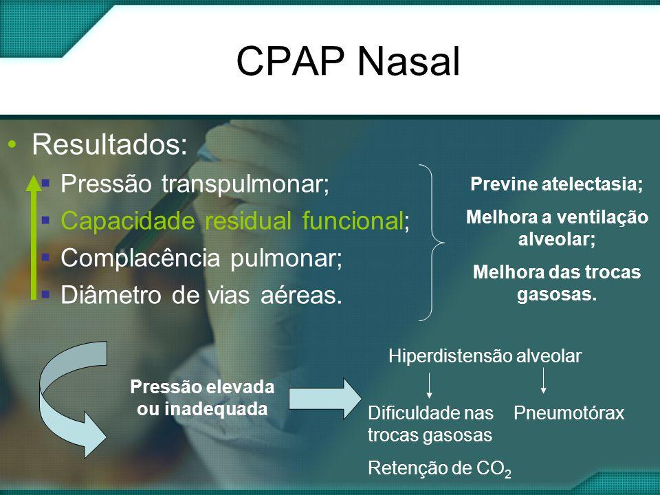 CPAP Nasal •Resultados:  Pressão transpulmonar;  Capacidade residual funcional;  Complacência pulmonar;  Diâmetro de vias aéreas.