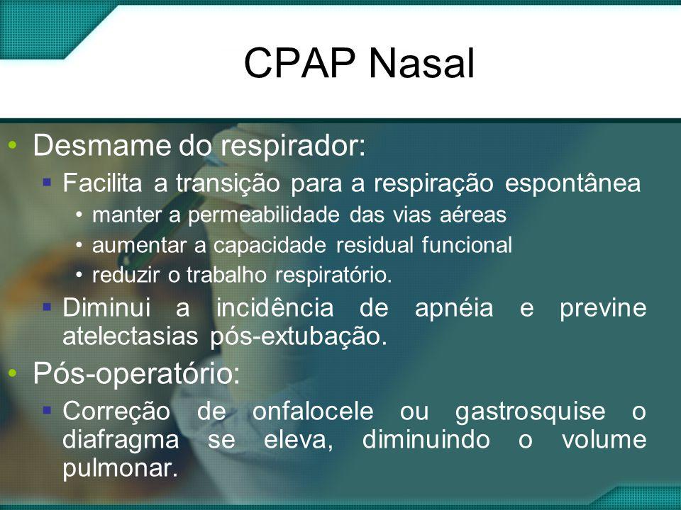 CPAP Nasal •Desmame do respirador:  Facilita a transição para a respiração espontânea •manter a permeabilidade das vias aéreas •aumentar a capacidade residual funcional •reduzir o trabalho respiratório.
