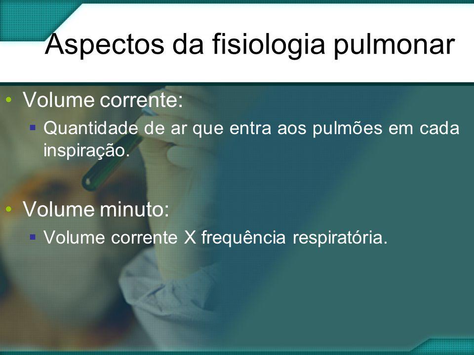 Aspectos da fisiologia pulmonar •Volume corrente:  Quantidade de ar que entra aos pulmões em cada inspiração.