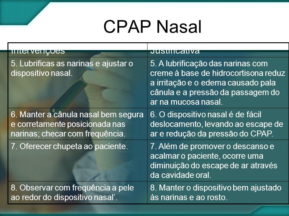 CPAP Nasal IntervençõesJustificativa 5.Lubrificas as narinas e ajustar o dispositivo nasal.