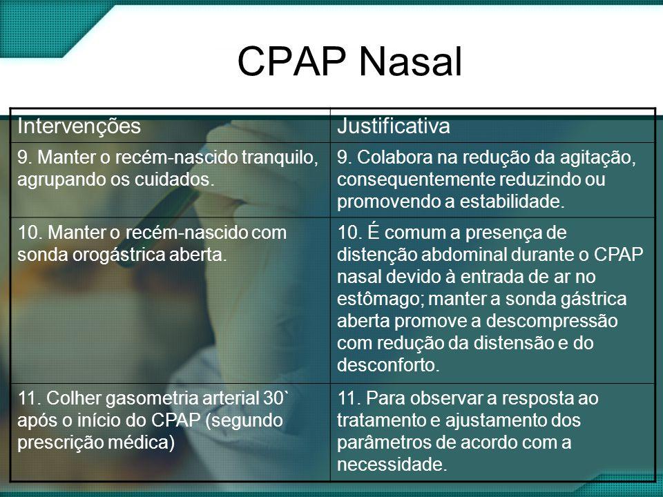 CPAP Nasal IntervençõesJustificativa 9.Manter o recém-nascido tranquilo, agrupando os cuidados.