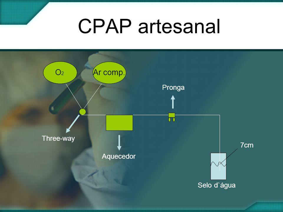 CPAP artesanal O2O2 Ar comp. Three-way Aquecedor Pronga Selo d`água 7cm