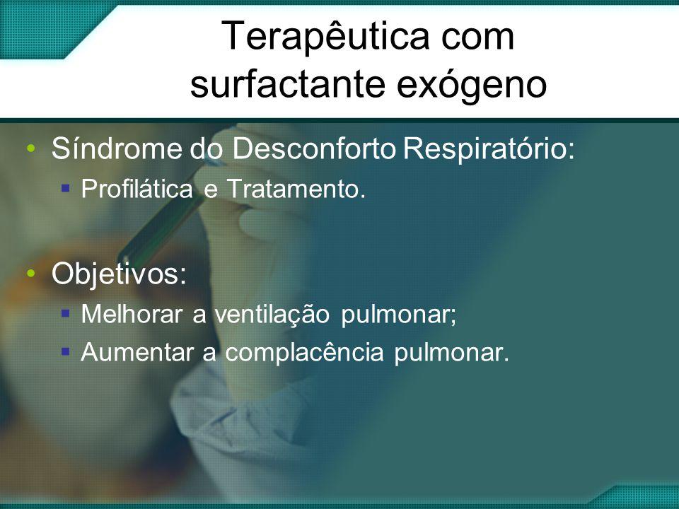Terapêutica com surfactante exógeno •Síndrome do Desconforto Respiratório:  Profilática e Tratamento.