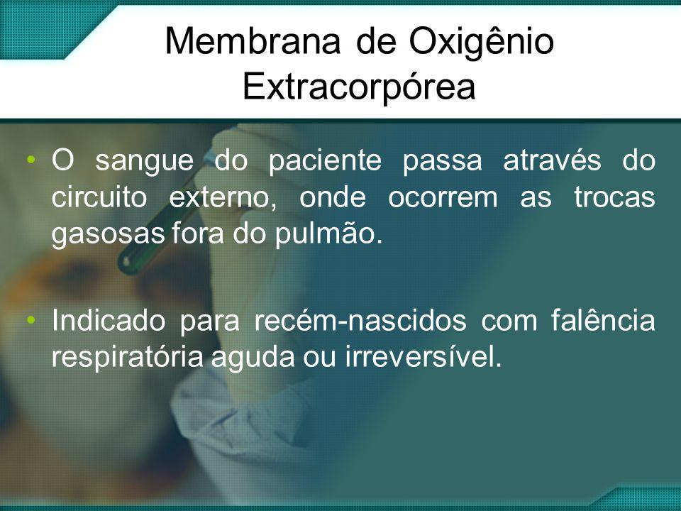 Membrana de Oxigênio Extracorpórea •O sangue do paciente passa através do circuito externo, onde ocorrem as trocas gasosas fora do pulmão.