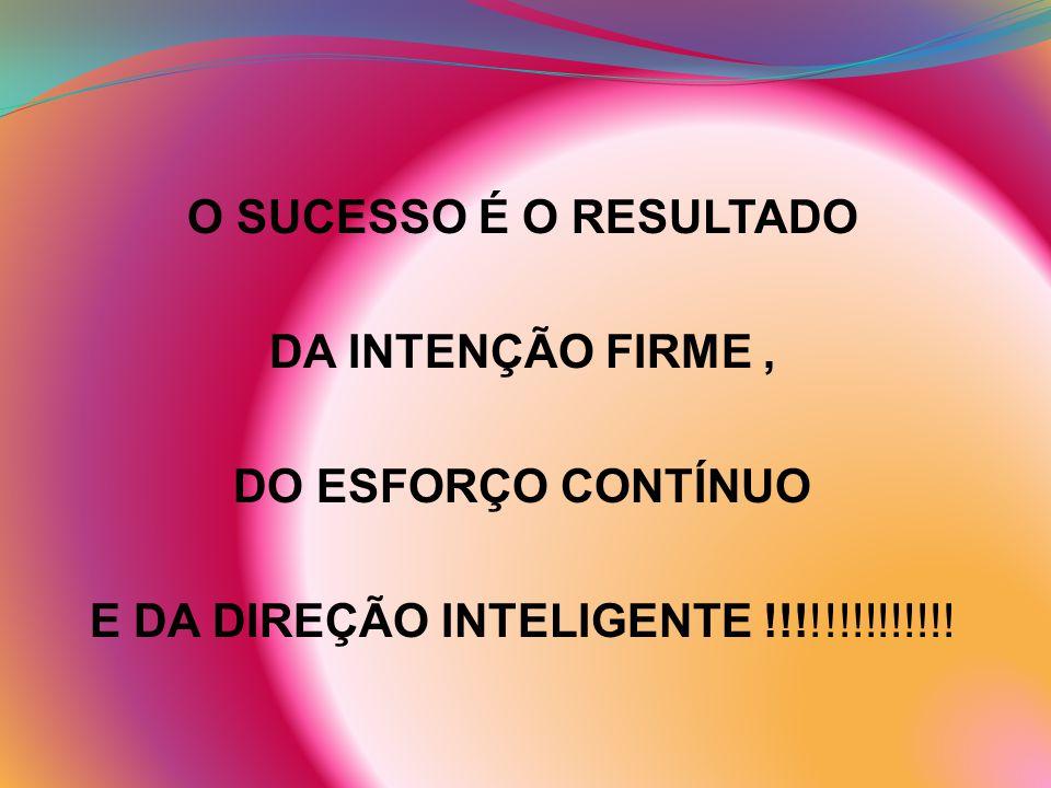 O SUCESSO É O RESULTADO DA INTENÇÃO FIRME, DO ESFORÇO CONTÍNUO E DA DIREÇÃO INTELIGENTE !!!!!!!!!!!!!!