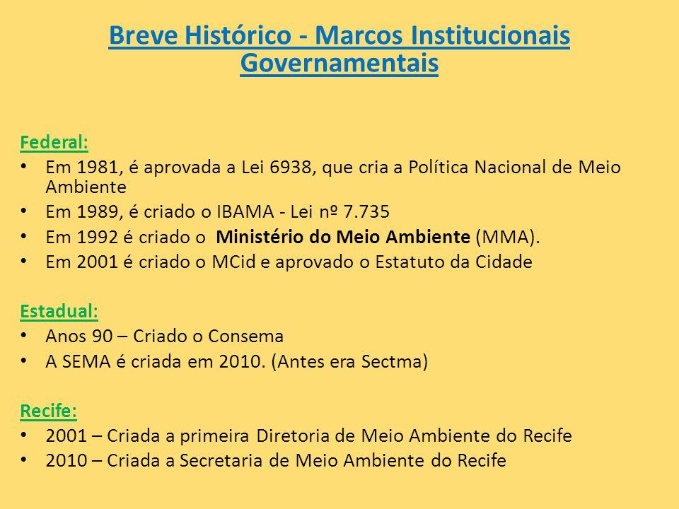 Breve Histórico - Marcos Institucionais Governamentais Federal: • Em 1981, é aprovada a Lei 6938, que cria a Política Nacional de Meio Ambiente • Em 1