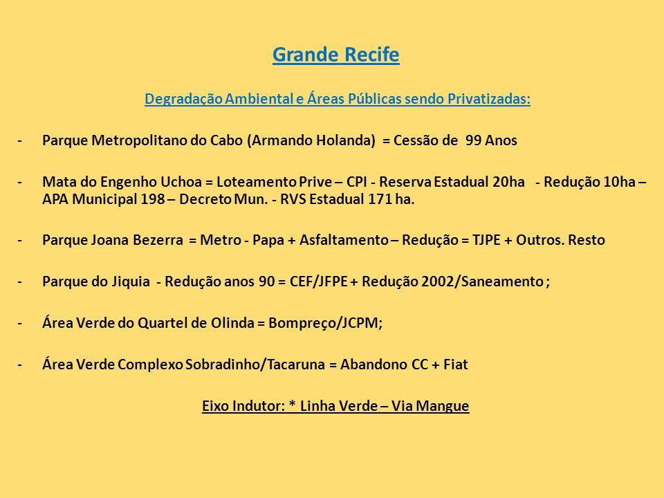 Grande Recife Degradação Ambiental e Áreas Públicas sendo Privatizadas: -Parque Metropolitano do Cabo (Armando Holanda) = Cessão de 99 Anos -Mata do E