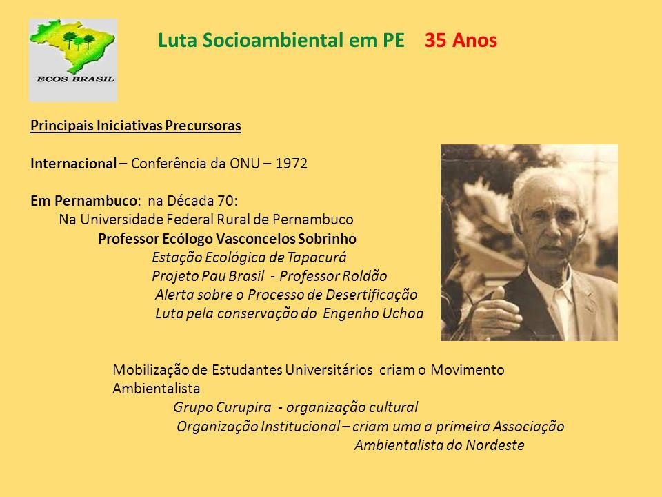 Luta Socioambiental em PE 35 Anos Principais Iniciativas Precursoras Internacional – Conferência da ONU – 1972 Em Pernambuco: na Década 70: Na Univers