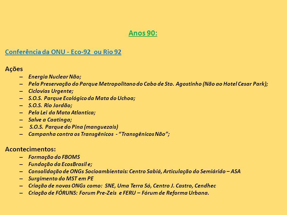 Anos 90: Conferência da ONU - Eco-92 ou Rio 92 Ações – Energia Nuclear Não; – Pela Preservação do Parque Metropolitano do Cabo de Sto. Agostinho (Não