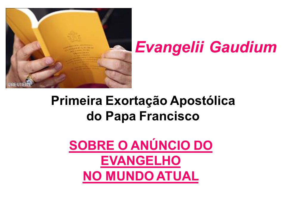 Primeira Exortação Apostólica do Papa Francisco SOBRE O ANÚNCIO DO EVANGELHO NO MUNDO ATUAL Evangelii Gaudium