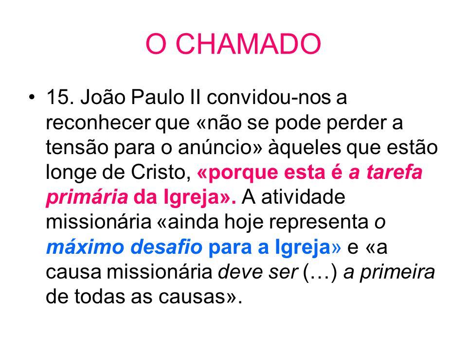 O CHAMADO •15. João Paulo II convidou-nos a reconhecer que «não se pode perder a tensão para o anúncio» àqueles que estão longe de Cristo, «porque est