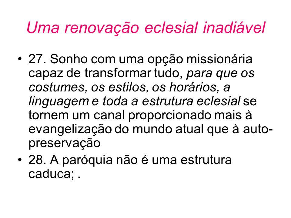 Uma renovação eclesial inadiável •27. Sonho com uma opção missionária capaz de transformar tudo, para que os costumes, os estilos, os horários, a ling