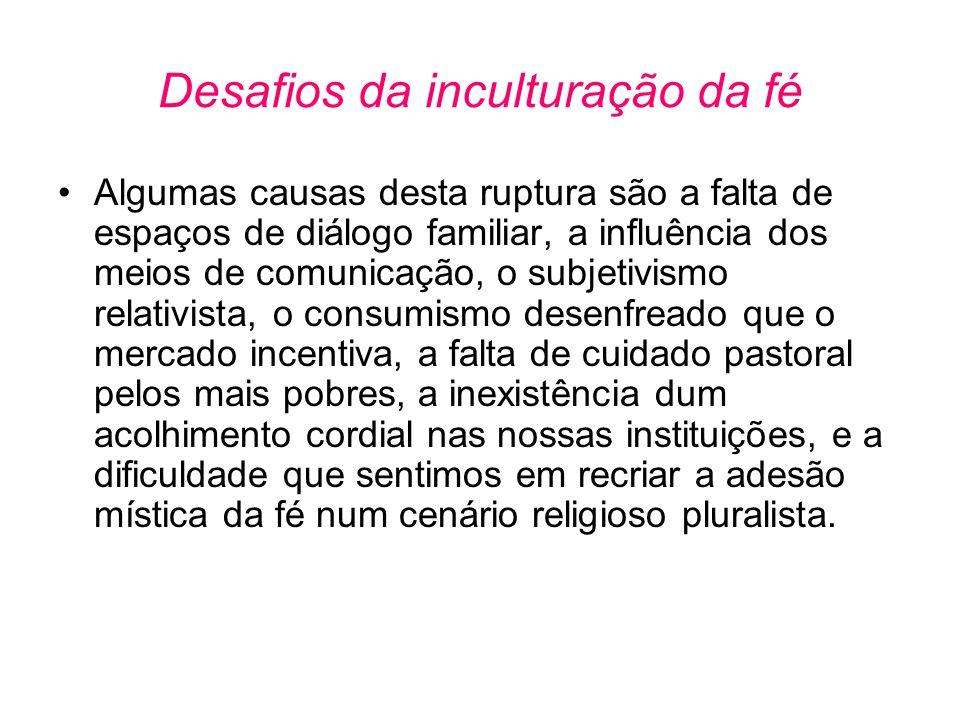 Desafios da inculturação da fé •Algumas causas desta ruptura são a falta de espaços de diálogo familiar, a influência dos meios de comunicação, o subj