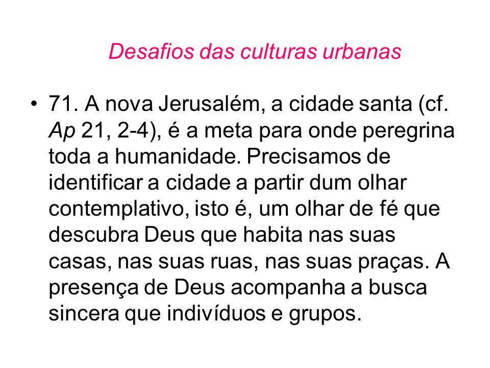 Desafios das culturas urbanas •71. A nova Jerusalém, a cidade santa (cf. Ap 21, 2-4), é a meta para onde peregrina toda a humanidade. Precisamos de id