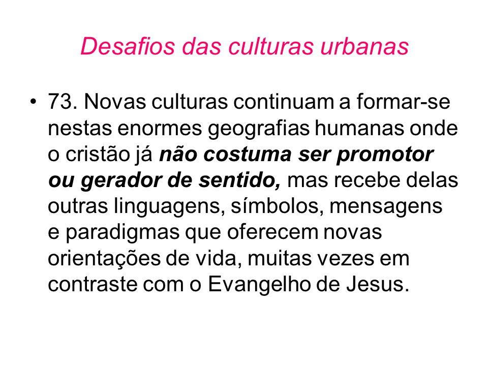 Desafios das culturas urbanas •73. Novas culturas continuam a formar-se nestas enormes geografias humanas onde o cristão já não costuma ser promotor o