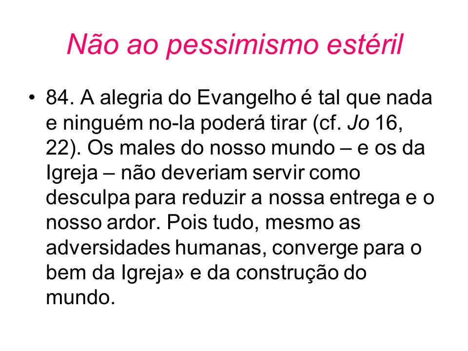Não ao pessimismo estéril •84. A alegria do Evangelho é tal que nada e ninguém no-la poderá tirar (cf. Jo 16, 22). Os males do nosso mundo – e os da I