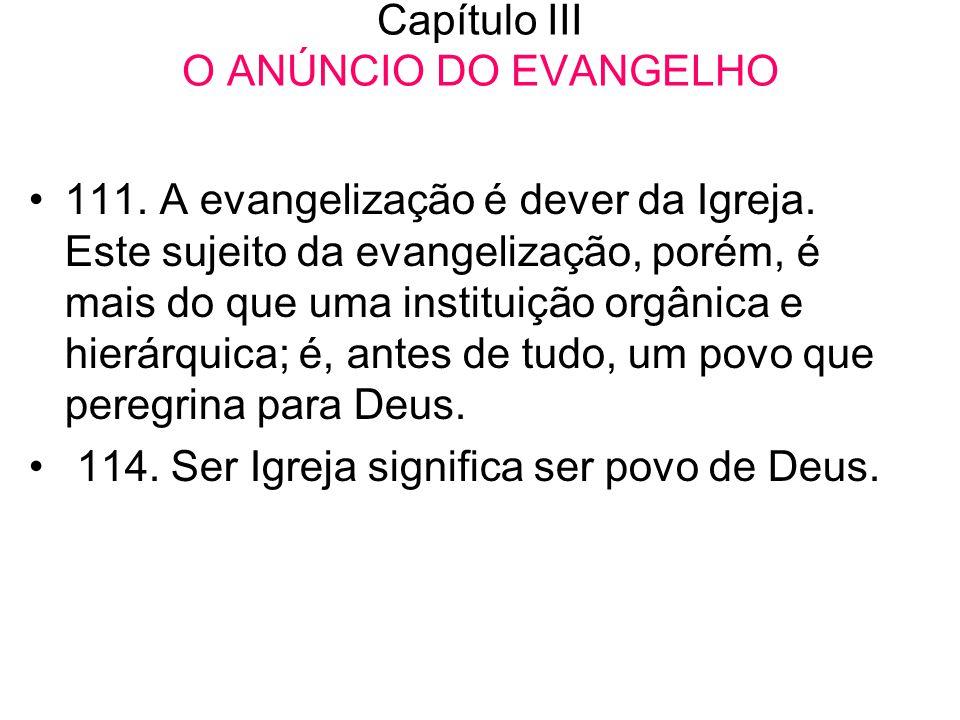 Capítulo III O ANÚNCIO DO EVANGELHO •111. A evangelização é dever da Igreja. Este sujeito da evangelização, porém, é mais do que uma instituição orgân