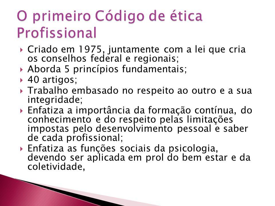  Criado em 1975, juntamente com a lei que cria os conselhos federal e regionais;  Aborda 5 princípios fundamentais;  40 artigos;  Trabalho embasad