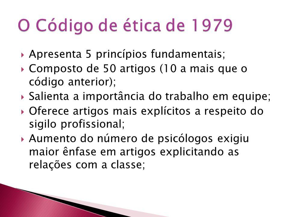 Apresenta 5 princípios fundamentais;  Composto de 50 artigos (10 a mais que o código anterior);  Salienta a importância do trabalho em equipe;  O