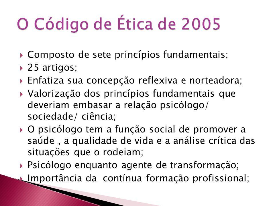  Composto de sete princípios fundamentais;  25 artigos;  Enfatiza sua concepção reflexiva e norteadora;  Valorização dos princípios fundamentais q