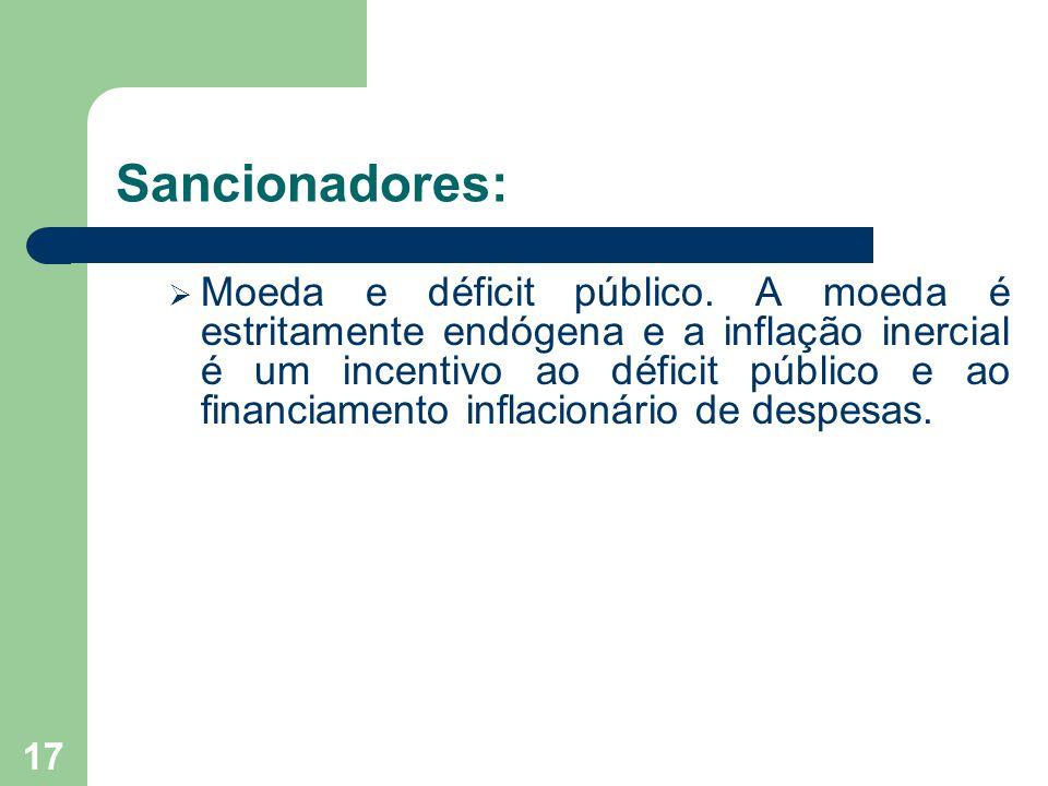 Sancionadores:  Moeda e déficit público. A moeda é estritamente endógena e a inflação inercial é um incentivo ao déficit público e ao financiamento i