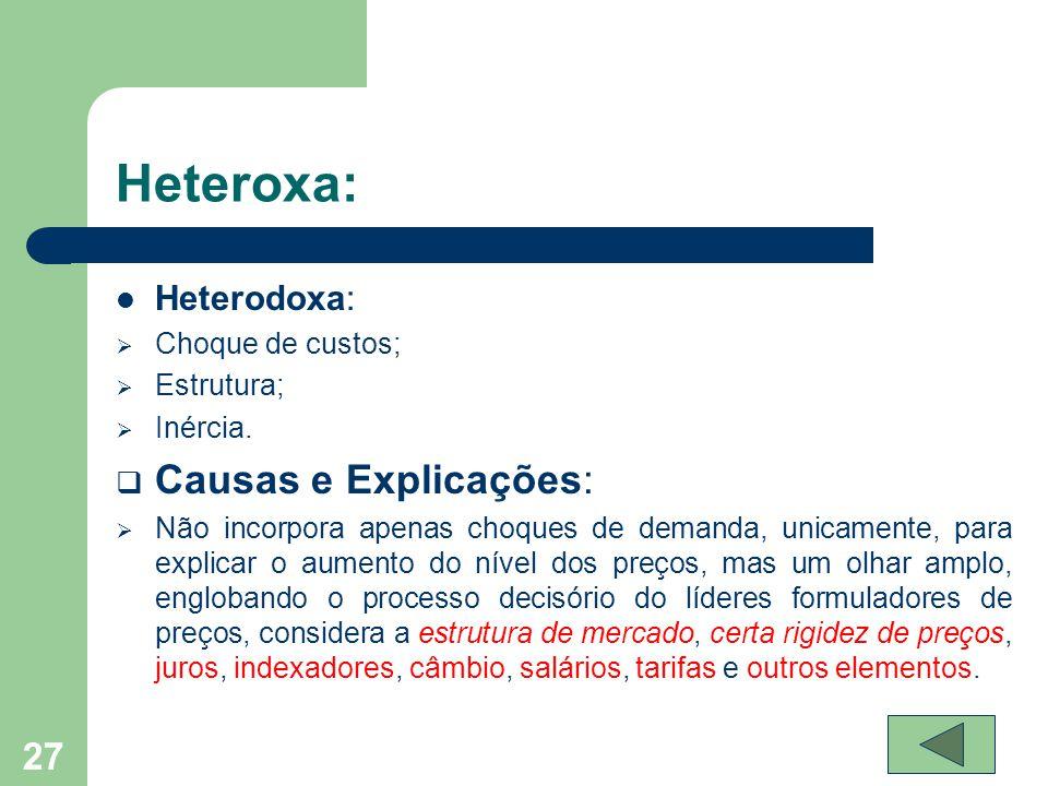  Heterodoxa:  Choque de custos;  Estrutura;  Inércia.  Causas e Explicações:  Não incorpora apenas choques de demanda, unicamente, para explicar