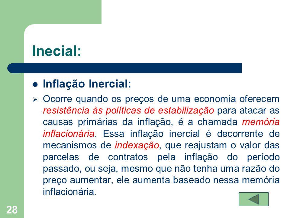 Inecial:  Inflação Inercial:  Ocorre quando os preços de uma economia oferecem resistência às políticas de estabilização para atacar as causas primá