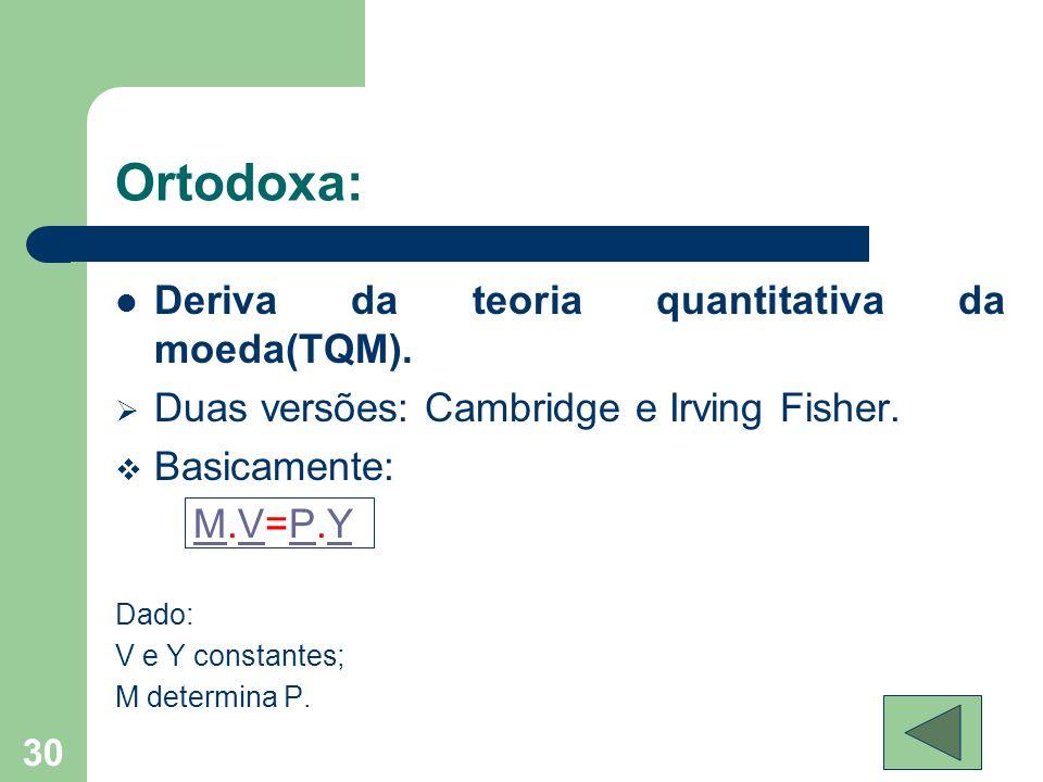 Ortodoxa:  Deriva da teoria quantitativa da moeda(TQM).  Duas versões: Cambridge e Irving Fisher.  Basicamente: M.V=P.YMVPY Dado: V e Y constantes;