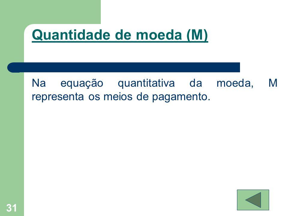 Quantidade de moeda (M) 31 Na equação quantitativa da moeda, M representa os meios de pagamento.