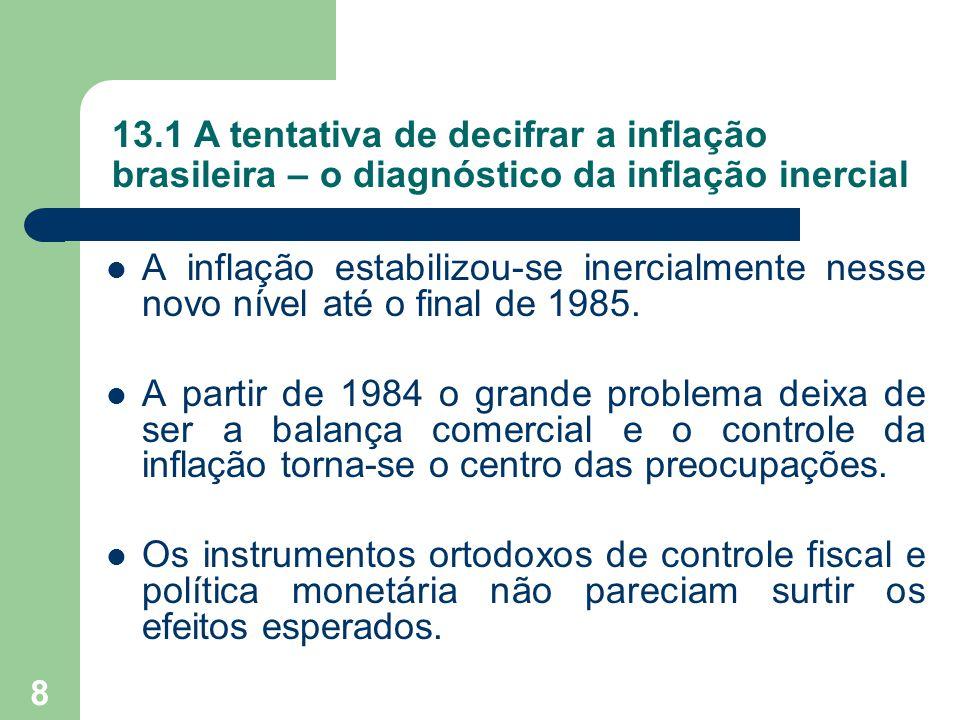 9 13.1 A tentativa de decifrar a inflação brasileira – diagnóstico da inflação inercial  Teoria da inflação inercial: uma interpretação alternativa do processo inflacionário, segundo a qual a solução do problema, embora difícil, não era tão custosa quanto a teoria ortodoxa apontava.