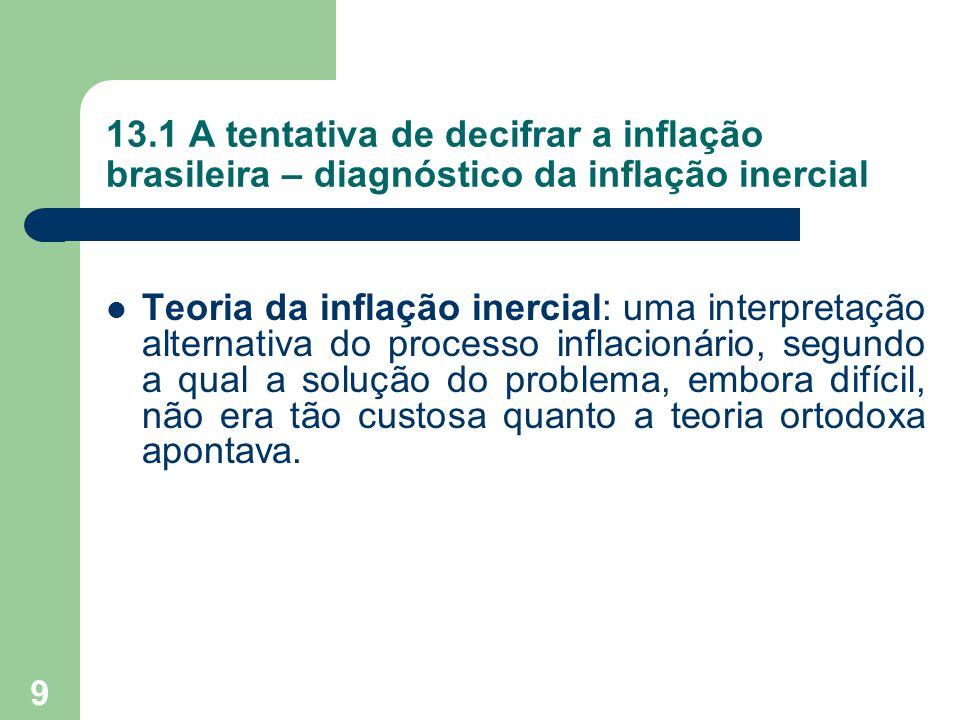 9 13.1 A tentativa de decifrar a inflação brasileira – diagnóstico da inflação inercial  Teoria da inflação inercial: uma interpretação alternativa d